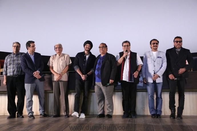 (L-R) Rahul Puri (MD of Mukta Arts), Mr. Vidhani (Owner of New Excelsior Cinema), Anil Kapoor, Satish Kaushik, Subhash Ghai, Gulshan Grover and Jackie Shroff