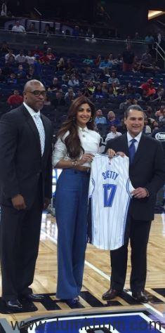 Orlando Magic Presents Custom Jersey to Shilpa Shetty