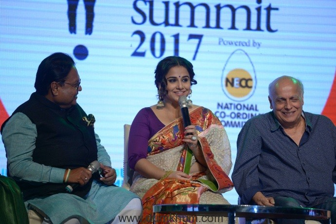 "Vidya Balan said Every woman should be true to herself and her truth will be discovered through her actions."" at Lokmat Women's Summit"