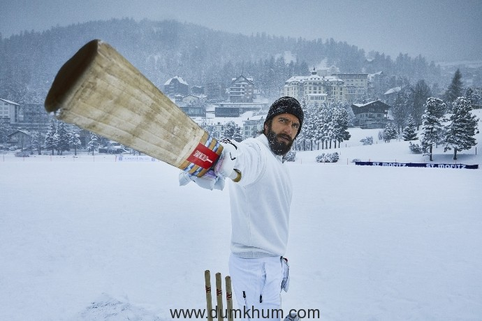 Ranveer battles it out for 'Do Guna Lagan' at a game of ice cricket in St.Moritz