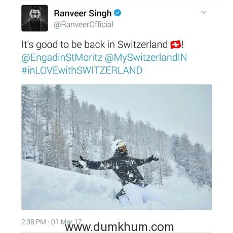 Ranveer's Tweet