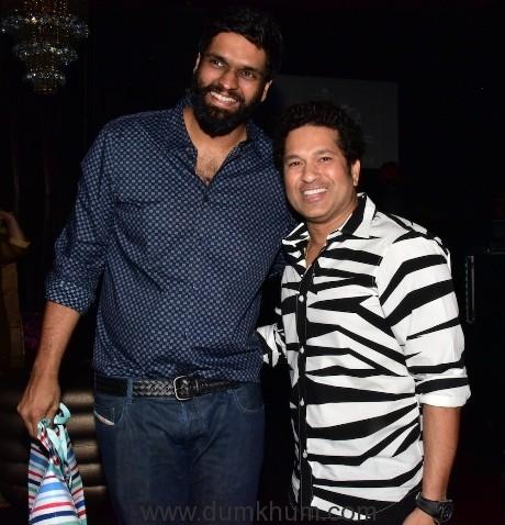 Sachin Tendulkar with Ravi Bhagchandka - Producer of Sachin A Billion Dream