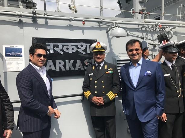 Sachin Tendulkar welcomes INS Tarkash to London