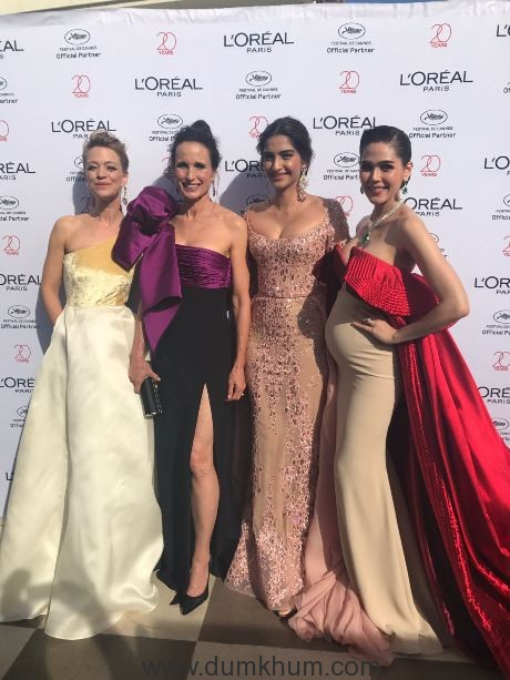 L'Oréal Paris ambassadors Sonam Kapoor, Andie Macdowell and Araya Hargate on Day 5 of red carpet at the Cannes Film Festival