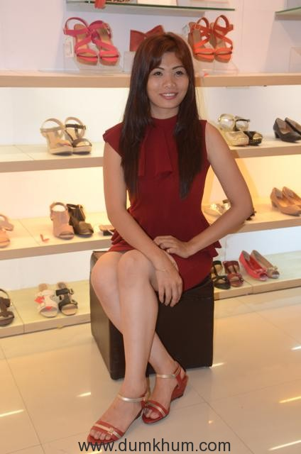 Miss India Tripura 2017 trying the footwear from the new Insolia collection
