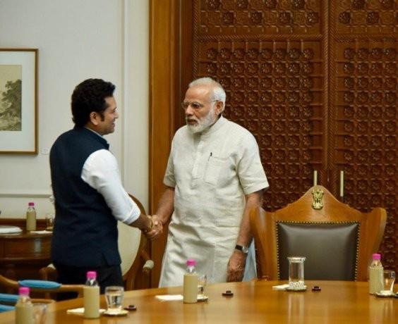 Sachin Tendulkar meets Prime Minister Narendra Modi for Sachin: A Billion Dreams