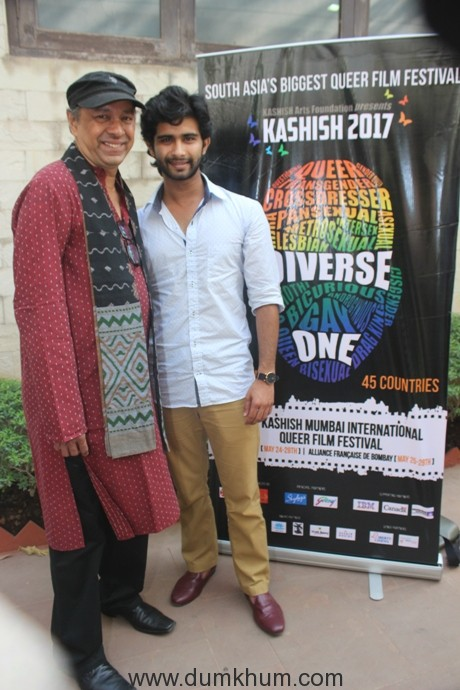 Sridhar Rangayan, Director of Kashish Film Festival with Siddharth Menon(Starring in LOEV)