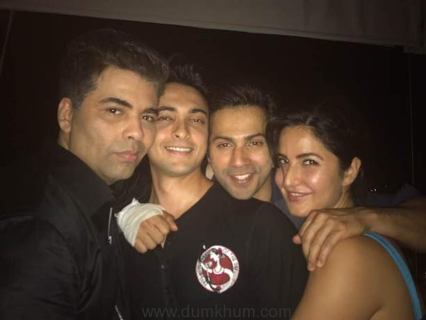 Varun Katrina and Ayush Sharma pose with Karan Johar