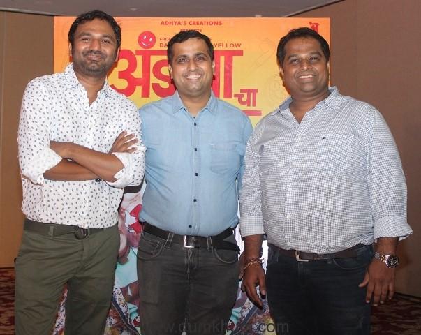 (L-R) Director Santosh Shetty, Producers Vijay Shetty and Prashant Pujari