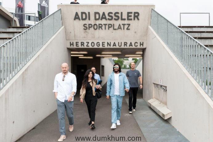 Ranveer Singh walks in to the Adi Dassler stadium at the adidas HQ