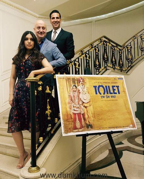 Akshay Kumar, Bhumi Pednekar and Anupam Kher promote Toilet- Ek Prem Katha in London