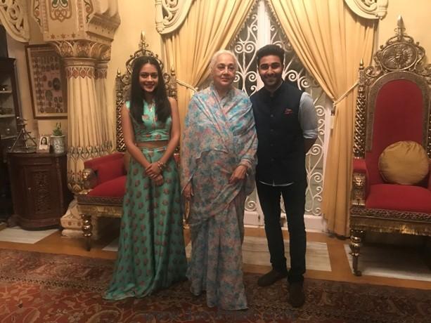 Aadar Jain and Anya Singh with the Maharani of Jaipur