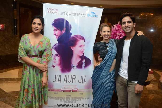 Kalki Koechlin, Richa Chddha & Howard Rosemeyer during the press confernce of poster launch & teaser insight of upcoming film Jia aur Jia at Taj place Hotel in New Delhi