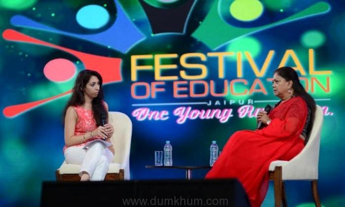 Natasha Mudhar conversing with Rt Hon Chief Minister Vasundhara Raje