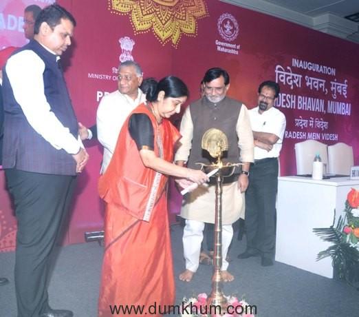 The External Affairs Minister Smt Sushma Swaraj inaugurates first 'Videsh Bhavan' !