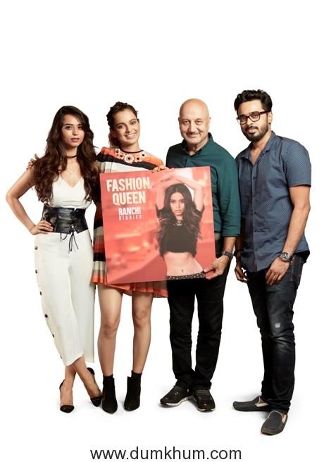 Fashion Queen Song Launch - (L-R) Soundarya Sharma, Kangana Ranaut, Anupam Kher