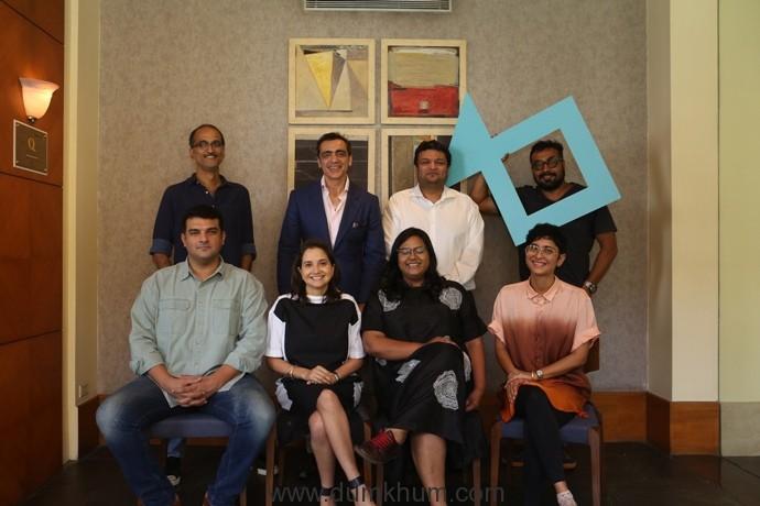 (L-R) Seated - Siddharth Roy Kapur, Festival Director-Anupama Chopra,Creative Director-Smriti Kiran, Festival Chairperson-Kiran Rao, Standing - Rohan Sippy, Ajay Bijli,Kaustubh Dhavse,Anurag Kashyap