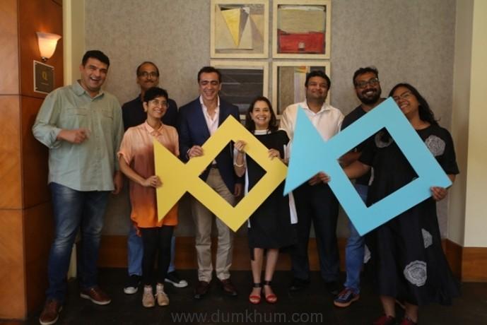 (L-R) Siddharth Roy Kapur, Festival Chairperson-Kiran Rao, Rohan Sippy, Ajay Bijli,Festival Director-Anupama Chopra, Kaustubh Dhavse, Anurag Kashyap and Creative Director-Smriti Kiran