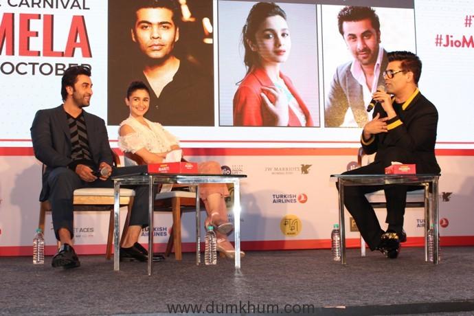 Karan Johar, Alia Bhatt and Ranbir Kapoor  in their candid best at Jio MAMI Movie Mela with Star