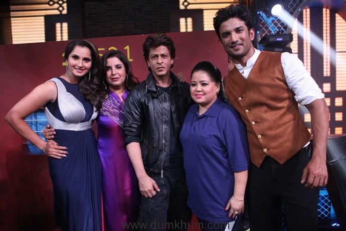 Sushant Singh Rajput and Sania Mirza pay tribute to Shah Rukh Khan on Farah Khan's Lip Sing Battle