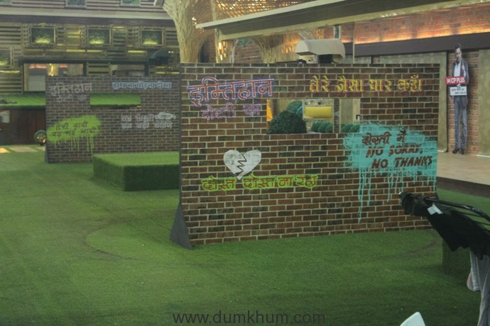 Task set up in the lawn area for the friendship task in Bigg Boss 11