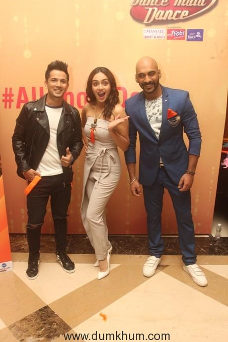 Mudassar Khan, Amruta Khanvilkar and Sahil Khattar at the Dance India Dance season 6 launch press conference