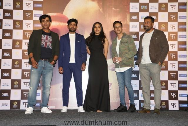 Actor Ravi Kishan, Vineet Kumar Singh, Actress Zoya Hussain, Jimmy Shergill and director Anurag Kashyap spotted at the trailer launch of their film Mukkabaaz