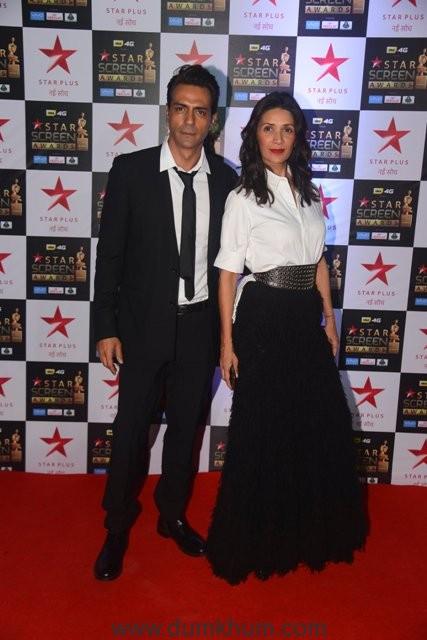Arjun and Mehr Rampal at Star Screen Awards 2017