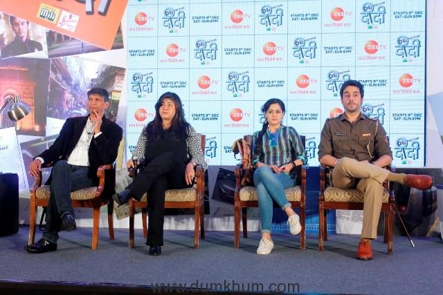 L-R Zee TV Deputy Business Head Deepak Rajadhyaksha, Producer Ila Bedi Datta, Sonia Balani and Manish Goplani's at Detective Didi launch in Delhi (2)
