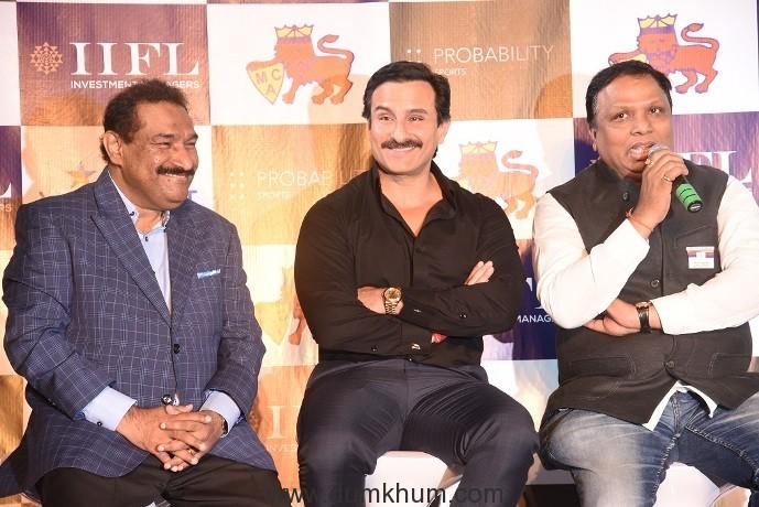 L to R - Mr. Sabbas Joseph (Founder Wizcraft International Entertainment), Mr. Saif Ali Khan (Bollywood Actor) and Mr. Ashish Shelar (President MCA).