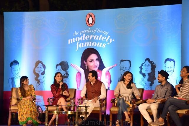 Saba Ali Khan, Kareena Kapoor Khan, Saif Ali Khan, Soha Ali Khan and Kunal Kemmu in conversation with Kaneez Surkha at the launch of Soha's debut book The Perils of Being Moderately Famous