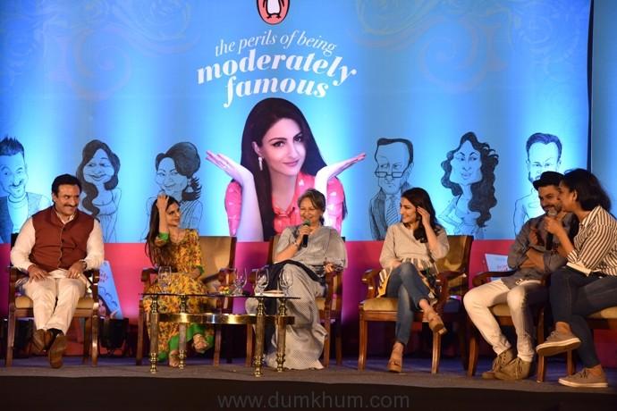 Saif Ali Khan, Saba Ali Khan, Sharmila Tagore, Soha Ali Khan and Kunal Kemmu in conversation with Kaneez Surkha at the launch of Soha's debut book The Perils of Being Moderately Famous