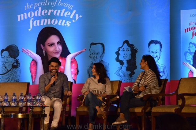 Soha Ali Khan and Kunal Kemmu in conversation with Kaneez Surkha at the launch of Soha's debut book The Perils of Being Moderately Famous
