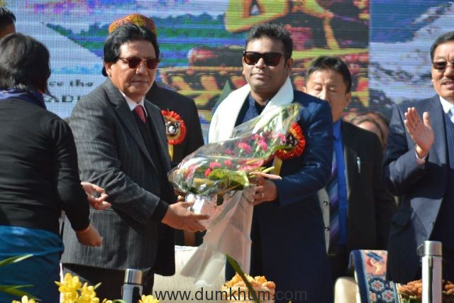Hon'ble Minister for Tourism & Civil Aviation Department, Mr. Ugen T Gyatso with A.R.Rahman, the brand ambassador of Sikkim at Red Panda Winter Carnival, Sikkim 3