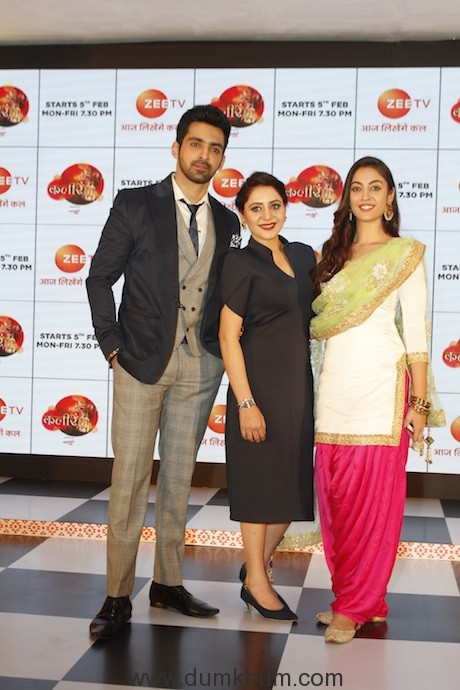 Actors Arjit Taneja, Vishwa Preet Kaur & Aditi Sharma at the launch of Zee TV's new show Kaleerein