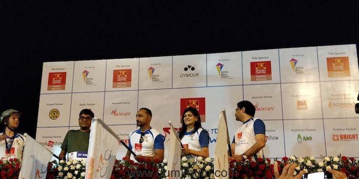 Bollywood Actor Rahul Bose, Mrs. Neerja Birla and Mr. Kumar Mangalam Birla flagging off Multiply Ride to Mpower_2