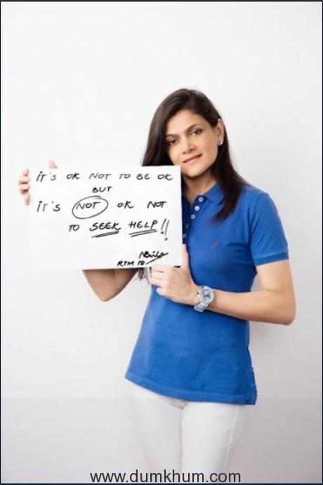Neerja Birla holding up the Its ok not to be ok placard