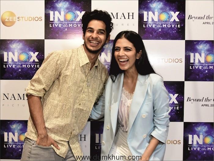 Ishan Khattar and Malavika Mohanan visited INOX INSIGNIA at Atria Mall in Worli.