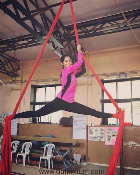 Pooja Hegde takes advance training in aerial yoga!