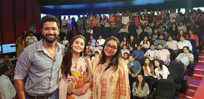 Alia Bhatt, Vicky Kaushal and Meghna Gulzar promote Raazi in Delhi