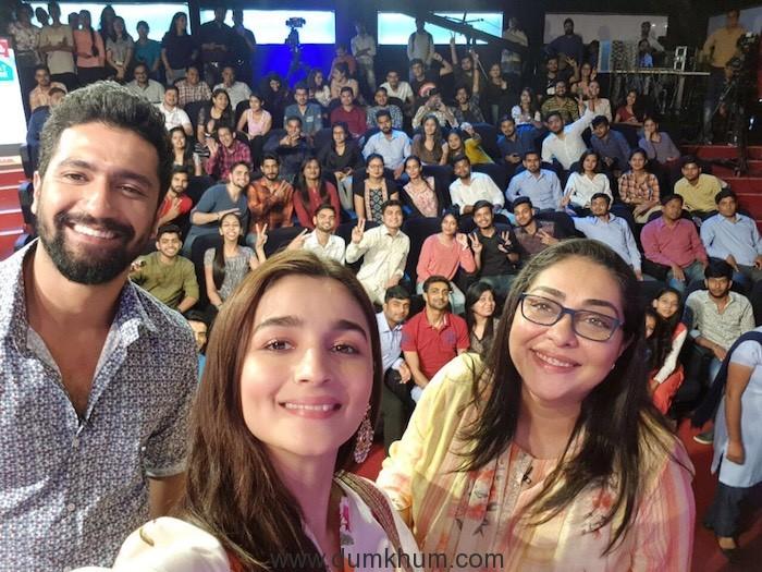 Alia Bhatt, Vicky Kaushal and Meghna Gulzar promote Raazi in Delhi--