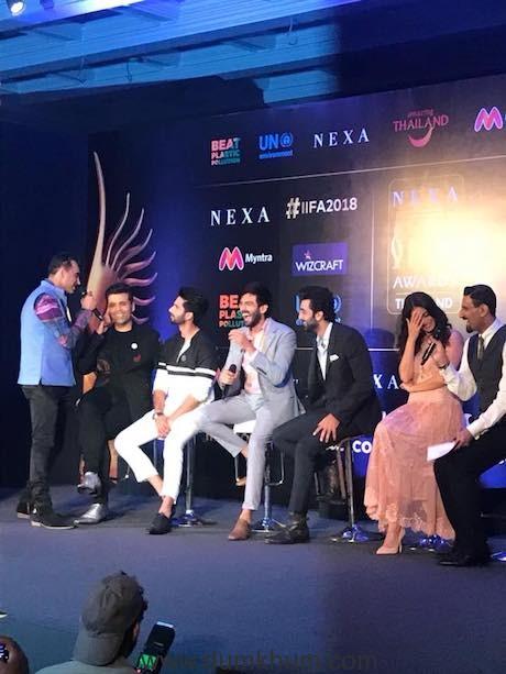 Karan Johar, Shahid Kapoor, Ranbir Kapoor and Kartik Aaryan at Official IIFA Press Conference in Delhi