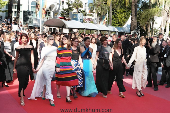 "Rohena Gera on red carpet in Cannes with 81 - Photo credit - ""Dominique Maurel"" Photo credit - ""Dominique Maurel"" women to protest against the gender gap"