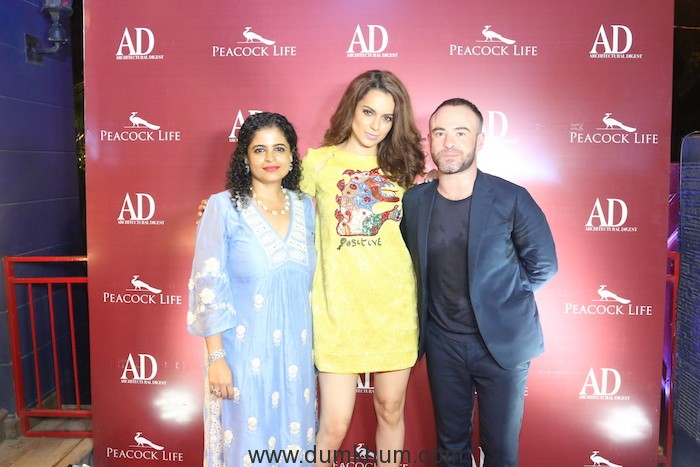 Shabnam Gupta, Kangana Ranaut and Greg Foster, Editor, Architectural Digest India at AD X Peacock Life event