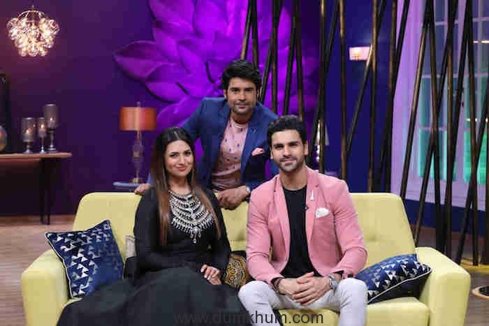 Televisions favourite couple Divyanka Tripathi and Vivek Dahiya along with host Rajeev Khandelwal on Zee TV's JuzzBatt
