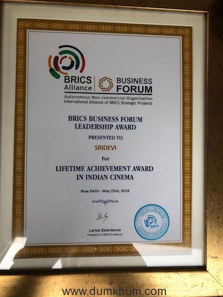 Megastar Sridevi honored at the BRICS Business Forum Leadership Awards!