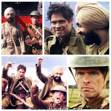 Alex Reece with Diljit Dosanjh on the sets of Sajjan Singh Rangoot. Collage 1.