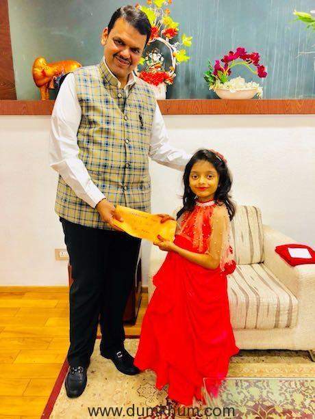 CM Devendra Fadnavis congratulates 6-year-old Anaishaa Pinkesh Nahar for making Maharashtra proud with a perfect 7 in Chess Championship.