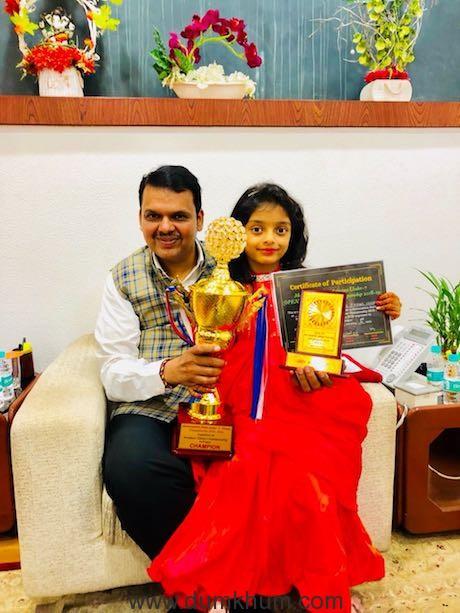 CM Devendra Fadnavis congratulates 6-year-old Anaishaa Pinkesh Nahar for making Maharashtra proud with a perfect 7 in Chess Championship