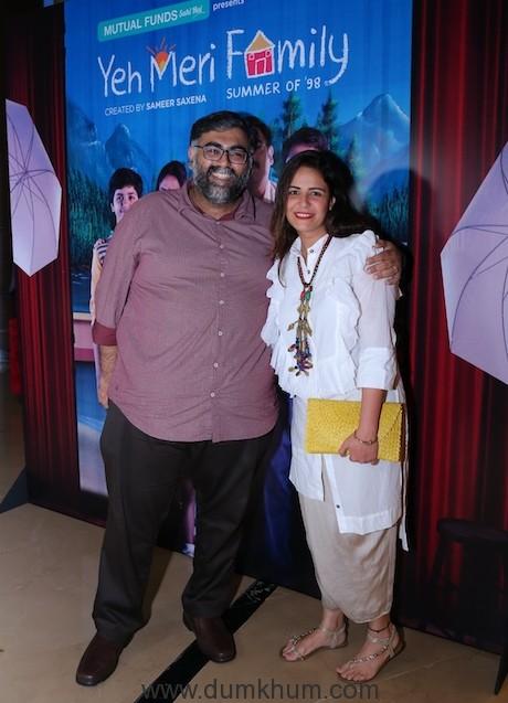 (L-R) Akarsh Khurana and Mona Singh at TVF's 'Yeh Meri Family' premier...